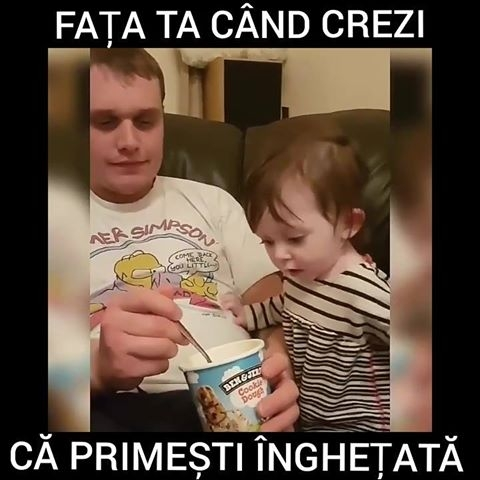 Reactia unui copil cand vede inghetata